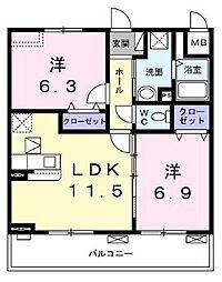 エスポワール4 2階2LDKの間取り