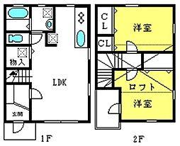 ヒルズ武蔵浦和B棟 1階2LDKの間取り