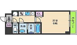 スプランディッド天王寺パークサイド 6階1Kの間取り