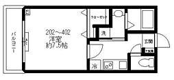 都営三田線 西巣鴨駅 徒歩2分の賃貸マンション 2階1Kの間取り