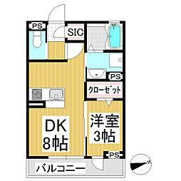 ソレール下之郷 3階1DKの間取り