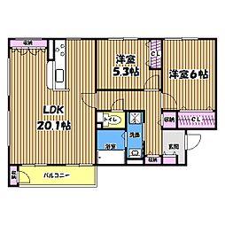 東京都八王子市みなみ野4丁目の賃貸アパートの間取り