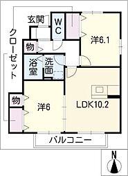 ウイングコートIII B[1階]の間取り