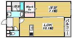 アメニティ西田辺[1階]の間取り