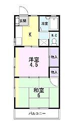 静岡県田方郡函南町仁田の賃貸アパートの間取り