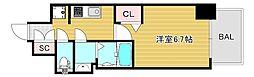 プレサンス大阪ドームシティクロスティ 7階1Kの間取り