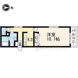 京都市営烏丸線 北大路駅 徒歩25分の賃貸マンション 1階1Kの間取り