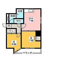レジデンシア東別院[5階]の間取り
