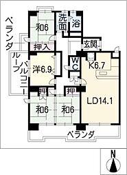 レインボー石薬師[11階]の間取り