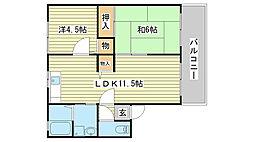 兵庫県姫路市飾磨区英賀春日町1丁目の賃貸アパートの間取り