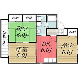 千葉県匝瑳市飯倉台の賃貸アパートの間取り