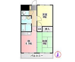 コーポ桂川 3階2DKの間取り