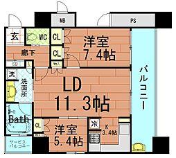 大阪府大阪市中央区淡路町3丁目の賃貸マンションの間取り