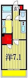 JR総武線 西船橋駅 徒歩10分の賃貸アパート 1階1Kの間取り