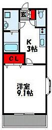 福岡県福津市宮司2丁目の賃貸アパートの間取り
