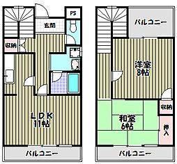 ハイツ上野芝I号館[3階]の間取り