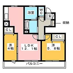 木犀館II[1階]の間取り