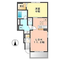 愛知県北名古屋市野崎正光寺丁目の賃貸アパートの間取り