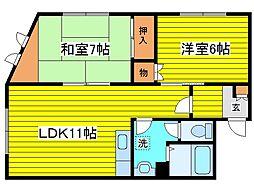 北海道札幌市東区北三十一条東16丁目の賃貸アパートの間取り