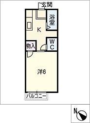 コーポキャロット[1階]の間取り