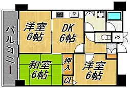 福岡県福岡市中央区小笹1丁目の賃貸マンションの間取り