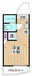 東京メトロ千代田線 北綾瀬駅 徒歩5分の賃貸マンション 3階ワンルームの間取り
