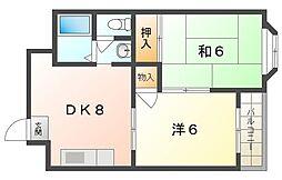 サンファミリー守口II 3階2DKの間取り