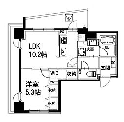 都営新宿線 曙橋駅 徒歩4分の賃貸マンション 2階1DKの間取り