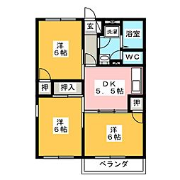 愛知県愛西市渕高町四ノ割の賃貸アパートの間取り