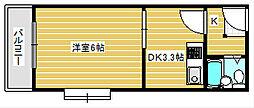 グランソシエ住之江II[5階]の間取り