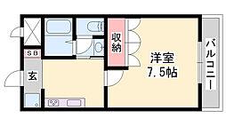 グランディール姫路 2階1Kの間取り