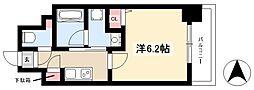 ディアレイシャス新栄 2階1Kの間取り