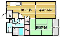大阪府堺市堺区榎元町2丁の賃貸マンションの間取り
