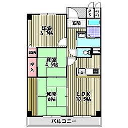 大阪府大阪狭山市半田3丁目の賃貸マンションの間取り