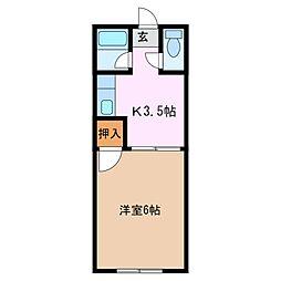 コーポ羽山 北棟[2階]の間取り