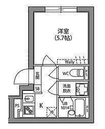 JR中央線 阿佐ヶ谷駅 徒歩15分の賃貸マンション 5階1Kの間取り