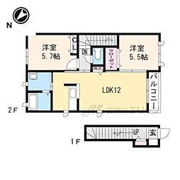 メゾンホーミーズ 2階2LDKの間取り