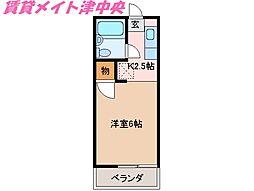 三重県津市愛宕町の賃貸アパートの間取り