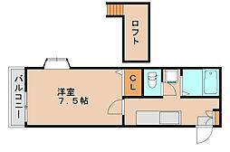 レンブランサ若宮B[2階]の間取り