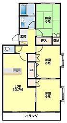 愛知県豊田市下市場町7丁目の賃貸マンションの間取り