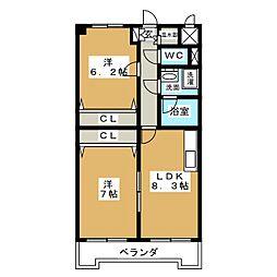 ウェルステージ丸浩 弐番館[6階]の間取り