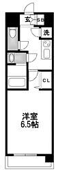 レジュールアッシュ京橋CROSSII 8階1Kの間取り