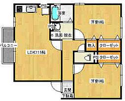 広島県広島市安佐南区伴東7丁目の賃貸アパートの間取り