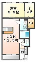 カサベルデ弐番館[1階]の間取り