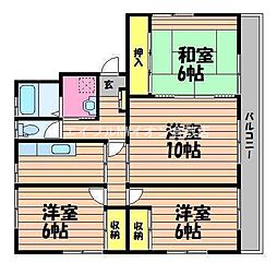 岡山県倉敷市東町の賃貸マンションの間取り