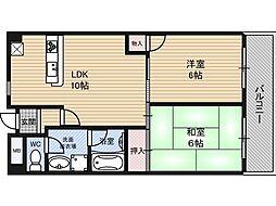 グロリアス北大阪[5階]の間取り