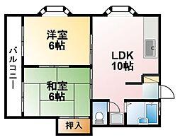 千葉県茂原市中の島町の賃貸アパートの間取り