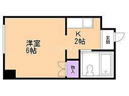 藤井ビル北14条 5階1Kの間取り