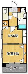リファレンス小倉 3階1DKの間取り