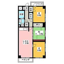 ハイツ秋桜[5階]の間取り